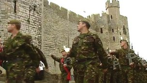 Royal Welch Fusiliers at Caernarfon Castle