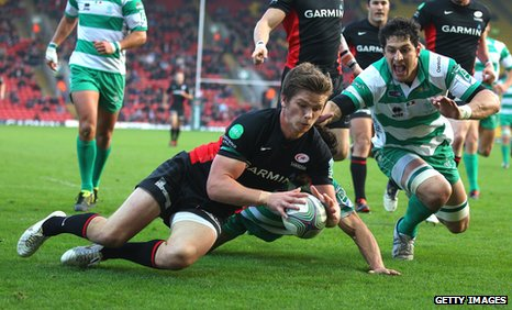 Owen Farrell scores a try for Saracens against Treviso