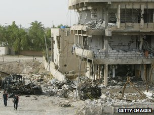 Aftermath of bomb blast in Nasiriya, Iraq