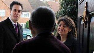 Ed Miliband campaigning in Feltham