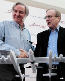 Microsoft co-founder Paul Allen, right, with aerospace pioneer Burt Rutan in Seattle in 13 December 2011