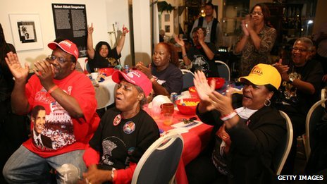 Obama supporters cheer on the South Side of Chicago on election night 2008