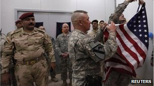 US troops hand over Camp Kalsu to Iraqi troops (11 Dec 2011)