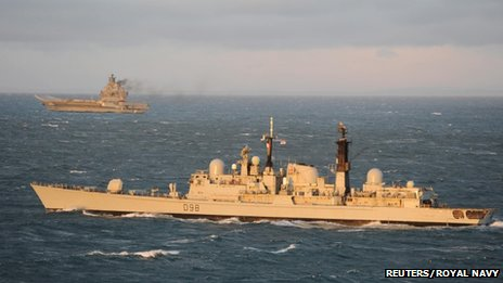 HMS York and Admiral Kuznetsov. Pic: Reuters/Royal Navy/MoD
