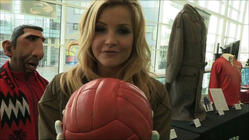 Helen Skelton hold the famous ball from England's 1966 World Cup win