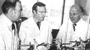 Colin Burrows, John Nicholson and Stewart Adams - key figures in the team who developed ibuprofen
