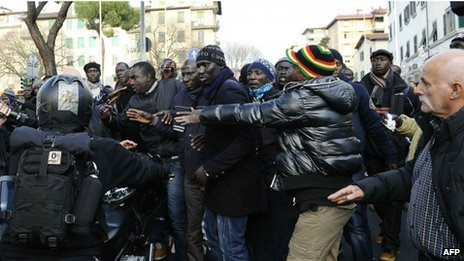 A Senegalese protest in Florence, Italy on 14 December 2011.