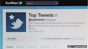 Twitter page on a computer screen