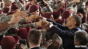 US President Barack Obama welcomes troops returning from Iraq at Fort Bragg, North Carolina, to mark the end of the Iraq War 14 December 2011