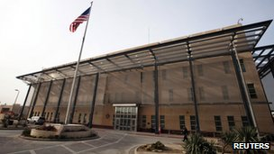 The chancellery  building at the US embassy in Iraq 14 December 2011
