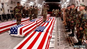 Coffins of US military personnel are prepared to be offloaded at Dover Air Force Base in Dover, Delaware, undated photo