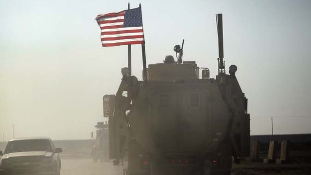 US flag on armoured vehicle