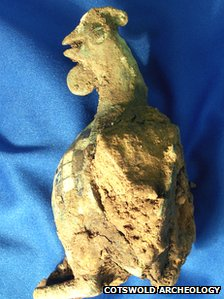 Enamelled cockerel found by Cotswold Archaeology