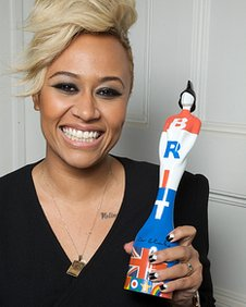 Emeli Sande with her Brit Award