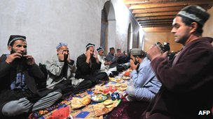 Muslim worshippers pray in the Tajik town of Garm, near the Afghan border