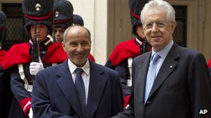 Libyan Transitional National Council chairman Mustafa Abdul Jalil (l) shakes hands with Italian Premier Mario Monti in Rome