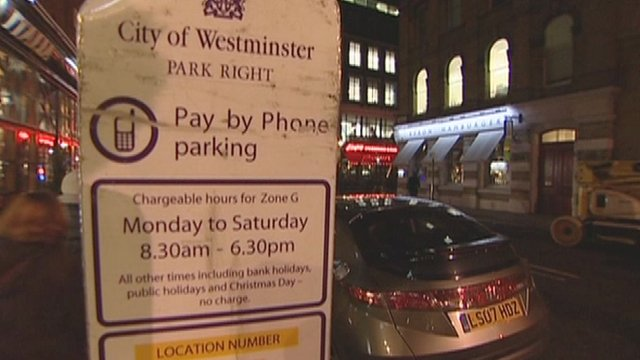 Parking notice in Westminster