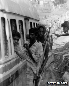 Pro-independence Mukti Bahini fighters on their way to the front line in East Pakistan during the 1971 conflict