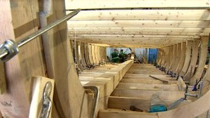 A Wye Trow being built in Gloucester