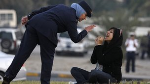 Zainab al-Khawaja, seated, during sit-in protest near Manama. 15 Dec 2011