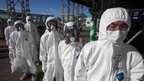 Workers waiting to enter the emergency operation centre at Fukushima