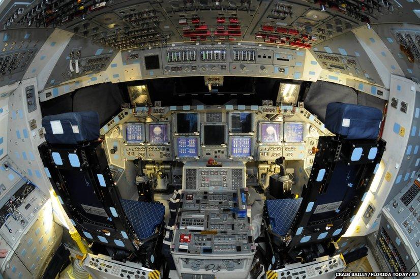 The main flight deck of space shuttle Atlantis
