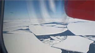 View from a Twin Otter plane operated by the British Antarctic Survey flying over the  Wilkins Ice Shelf.