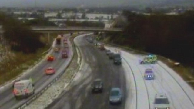 Traffic has been slow and there have been crashes on some of Wales' major roads