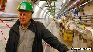 Professor Peter Higgs inside the Large Hadron Collider tunnel at CERN