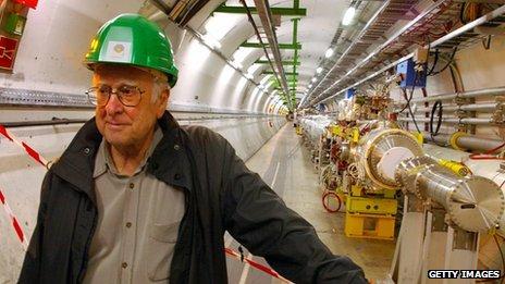 Prof Peter Higgs inside the Large Hadron Collider tunnel at the European Organization for Nuclear Research (Cern)