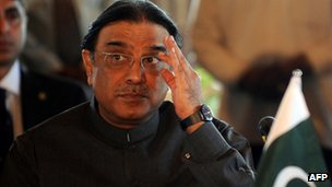 "November 29, 2010 file photograph shows Pakistan""s President Asif Ali Zardari at a parliamentary meeting in Colombo"