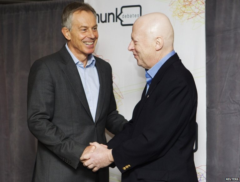 Tony Blair and Christopher Hitchens in Toronto, 26 November 2010