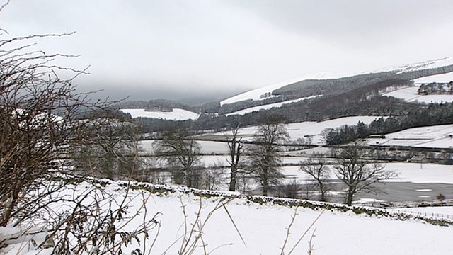 Snow covered fields in Scottish Borders