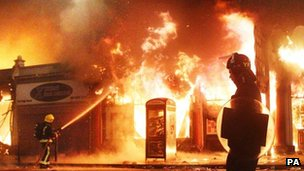 Fires during riots in north London