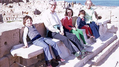 Tarik with his sisters and English grandparents at the Roman toilets in Sabratha