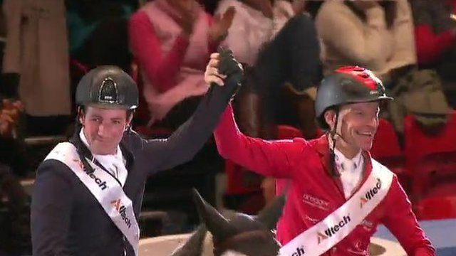 Britain's Guy Williams with Switzerland's Pius Schwizer