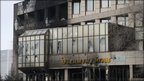 A burnt office building of oil company KazMunaiGas Exploration Production  17 Dec