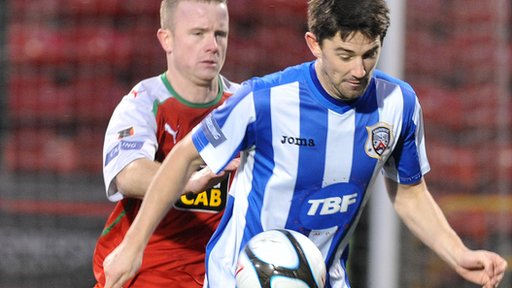 Coleraine's Curtis Allen scored the winning goal against Cliftonville