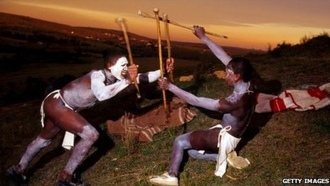 Xhosa boys practise traditional spear fighting