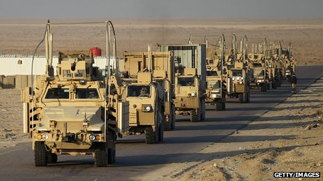 Last convoy of US troops in Iraq prepares to cross Kuwait border. 18 Dec 2011