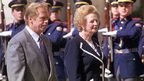 Vaclav Havel with British Prime Minister Margaret Thatcher at Prague Castle in 1990