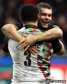 James Johnson and Nick Easter celebrate victory