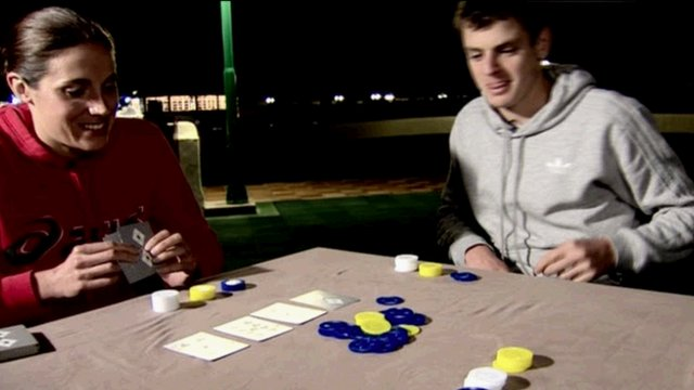 Helen Jenkins plays poker with Jonny Brownlee