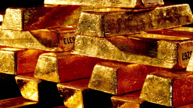 A stack of gold ingots