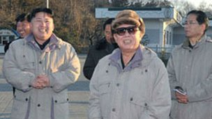 Kim Jong-un (left) with his father on 4 December 2011