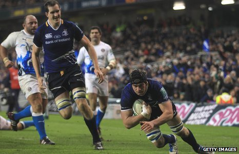 Rhys Ruddock scores a second half try for Leinster against Bath