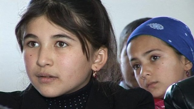 Shabnam, a Tajik girl whose father works in Kazakhstan.