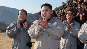 Kim Jong-Un, son of late North Korean leader Kim Jong-Il, visiting the construction site of a power station in Jagang Province, North Korea