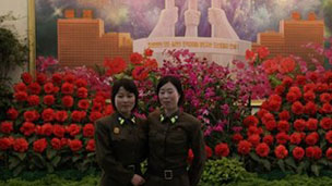 Flowers dedicated to the Kim leaders