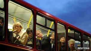 Passengers on a London bus